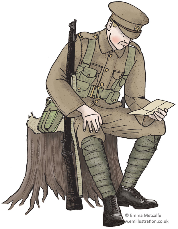 Illustration of World War One British soldier reading letter from home by Emma Metcalfe