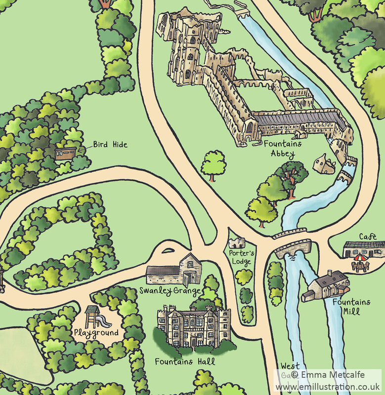 Hand drawn map illustration showing Fountains Abbey and historic buildings by map illustrator Emma Metcalfe
