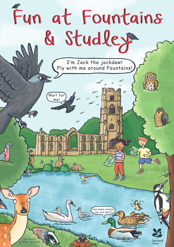 Front cover illustration from Fun at Fountains & Studley children's trail leaflet by Emma Metcalfe