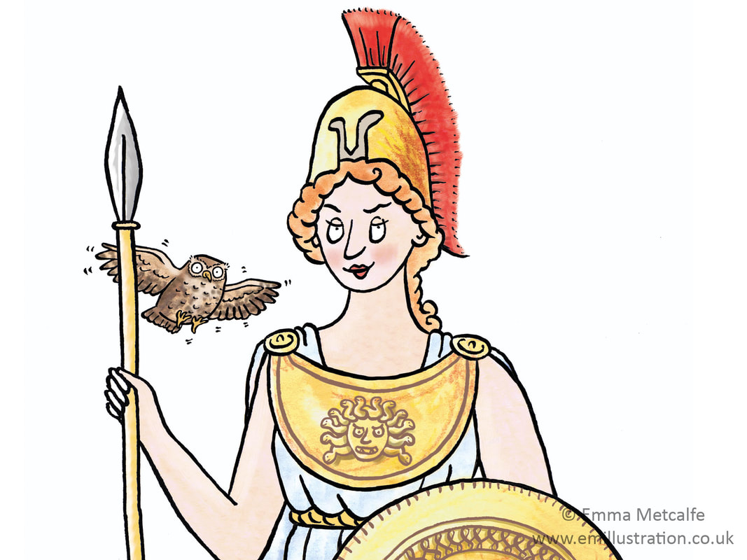 Character of Roman goddess for children's museum retail products designed by Emma Metcalfe