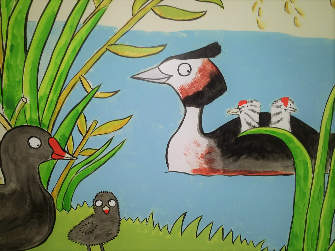 Close up of Great Crested Grebe and chicks by children's illustrator and museum mural artist Emma Metcalfe
