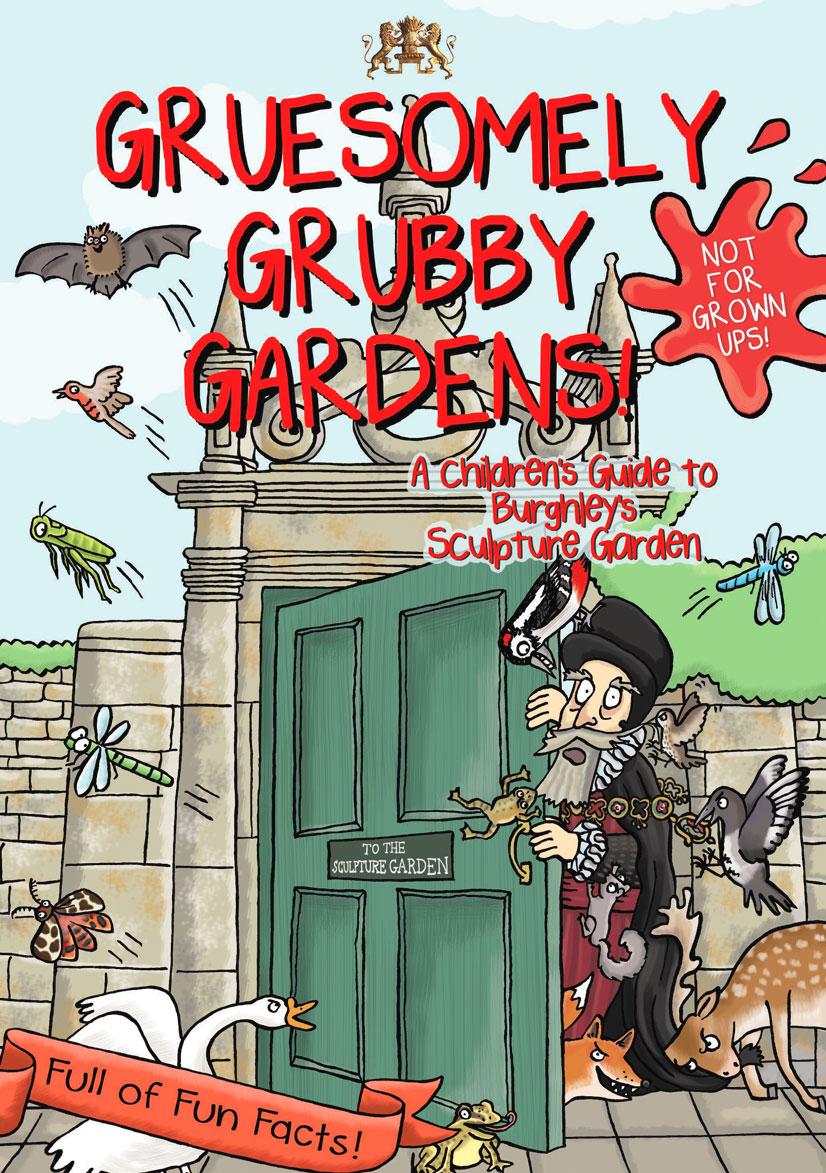 Front cover illustration from Gruesomely Grubby Gardens illustrated children's guidebook by Emma Metcalfe
