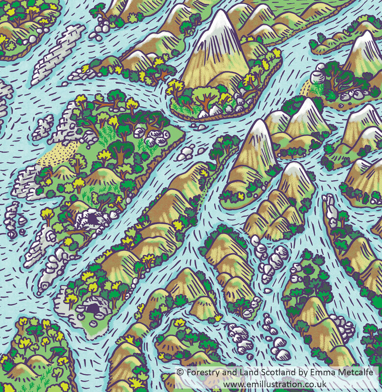 Hand drawn mountains and rivers bold cartoon fantasy landscape map illustrated by Emma Metcalfe