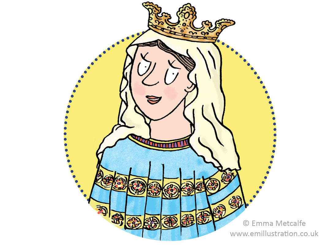 Children's historical character illustration, historical women by illustrator Emma Metcalfe