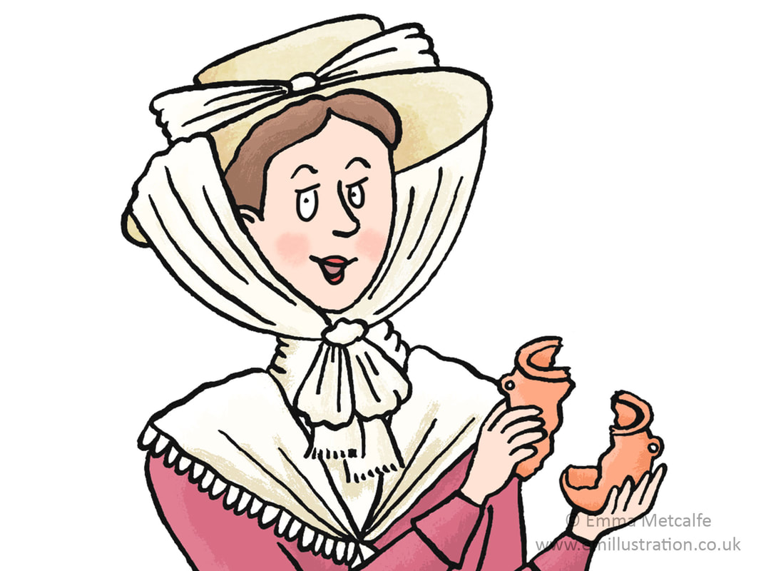 Pioneering female archaeologist Victorian explorer character by illustrator Emma Metcalfe