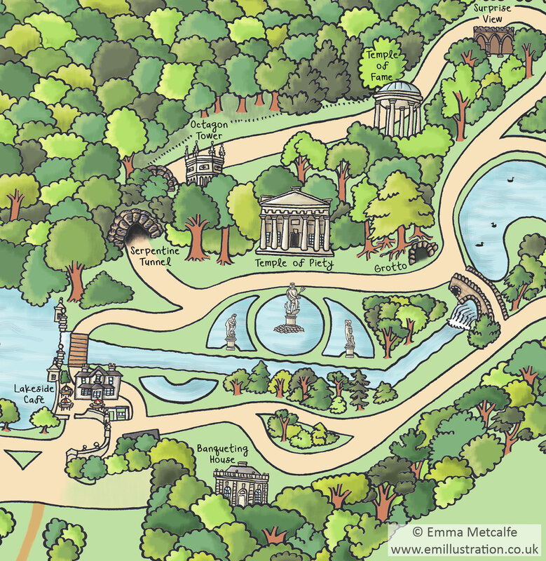 Hand drawn illustrated map of visitor attraction park heritage site with lakes and follies by heritage map illustrator Emma Metcalfe