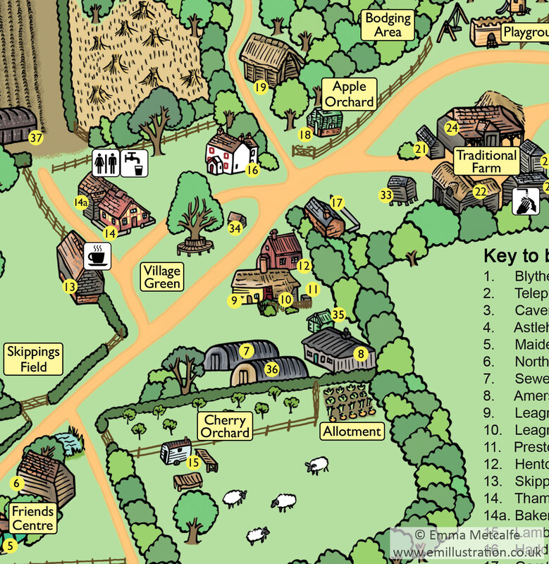 Site map for open air museum of historic buildings by museum map illustrator designer Emma Metcalfe