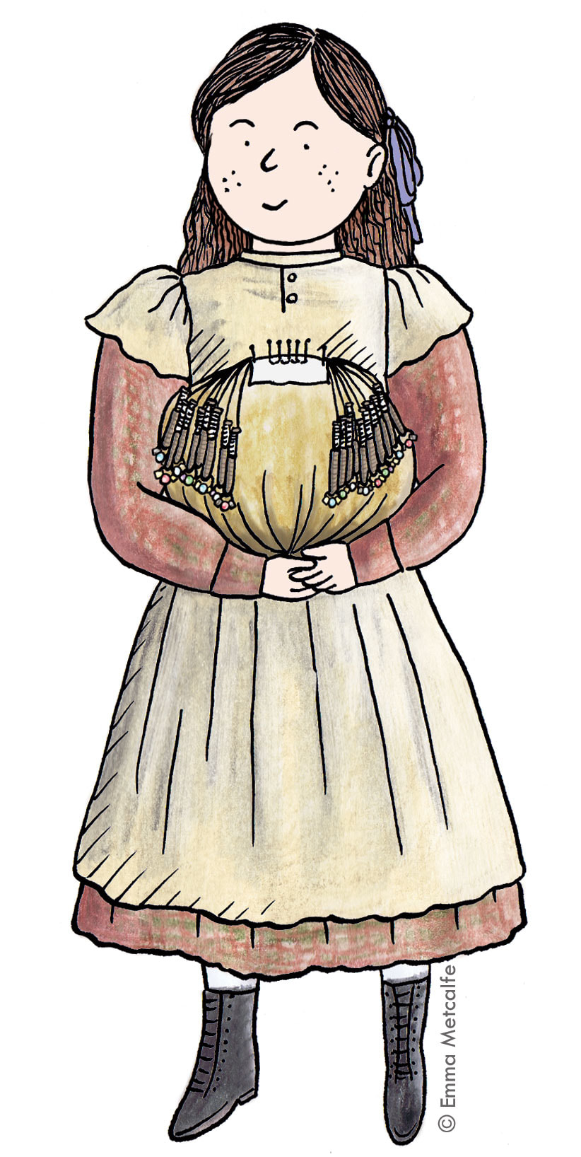 Illustration of girl lace school pupil holding lace pillow and bobbins for lacemaking in Victorian times by Emma Metcalfe