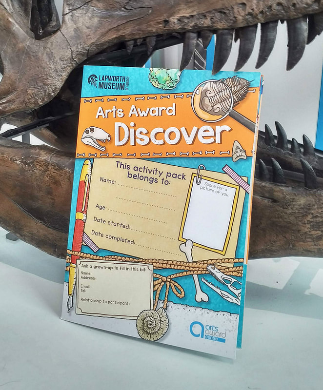 Photo of custom Arts Award Discover log book by Emma Metcalfe in front of a dinosaur skull