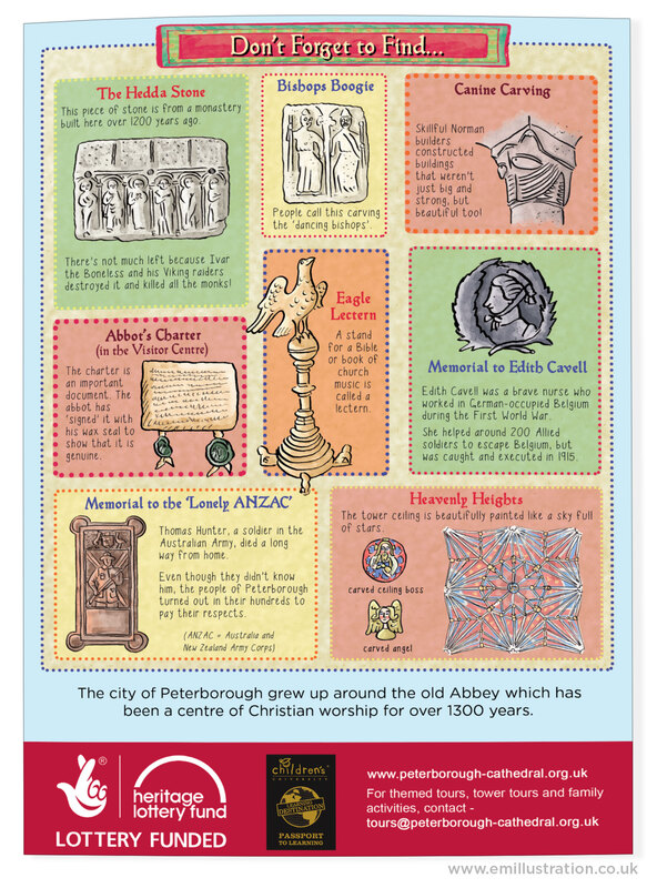 Page of illustrated I Spy activities for cathedral/church by Emma Metcalfe