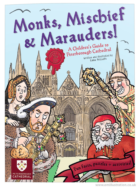 Front cover of Monks Mischief & Marauders book cover illustration by illustrator Emma Metcalfe