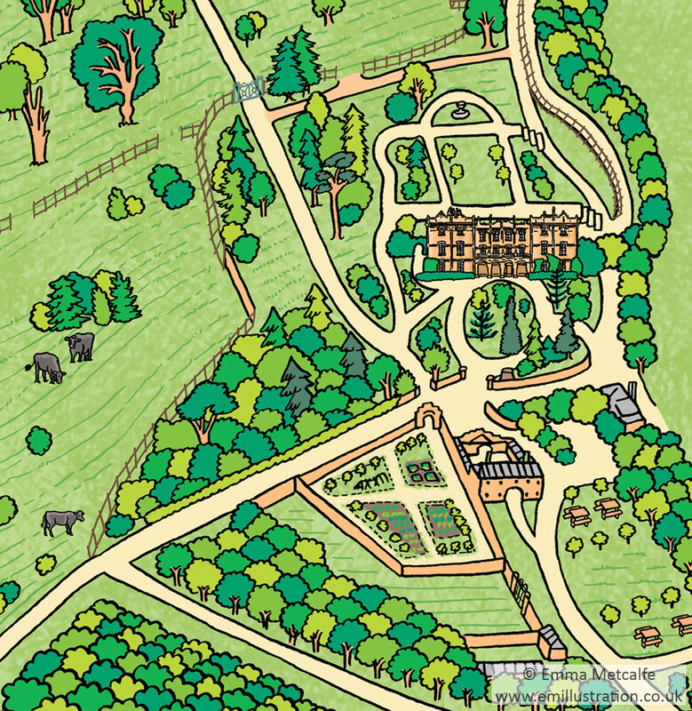 Simple and colourful parkland and estate map of Hughenden Manor hand drawn by map illustrator Emma Metcalfe