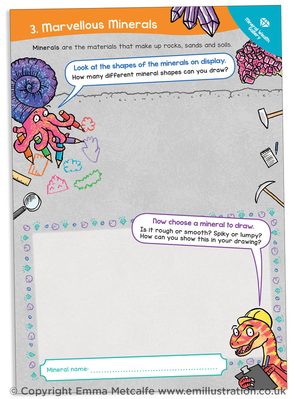 Page 3 (Drawing Minerals) Custom bespoke Arts Award log book design and illustration by Emma Metcalfe