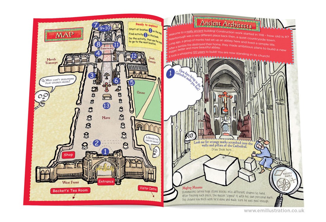 Pages from Peterborough Cathedral family guidebook activity, cathedral nave and map/plan illustration by Emma Metcalfe