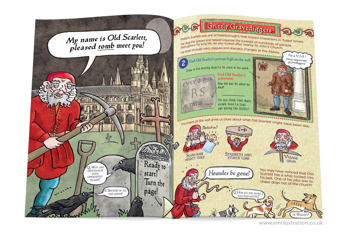 Humorous historical illustrations of lord and lady from Oakham Castle children's activity book