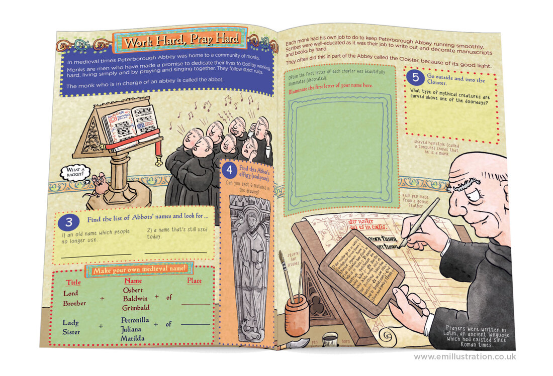 Pages from a children's cathedral activity book about medieval monks in an abbey by Emma Metcalfe
