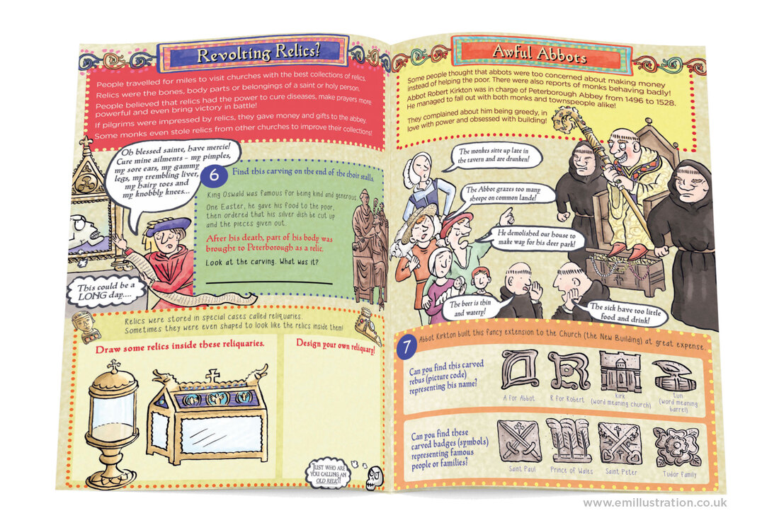 Pages from bespoke children's cathedral guidebook featuring illustrations of religious relics and medieval abbot by emma metcalfe
