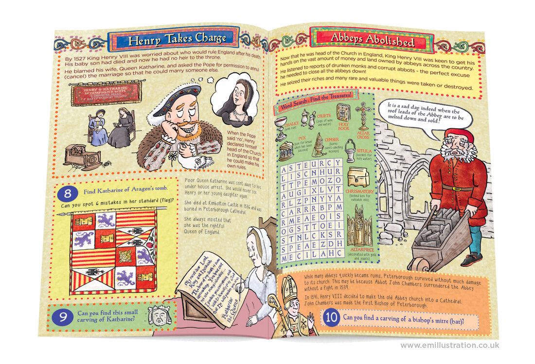 Pages from illustrated children's guidebook about dissolution of the monasteries by Emma Metcalfe