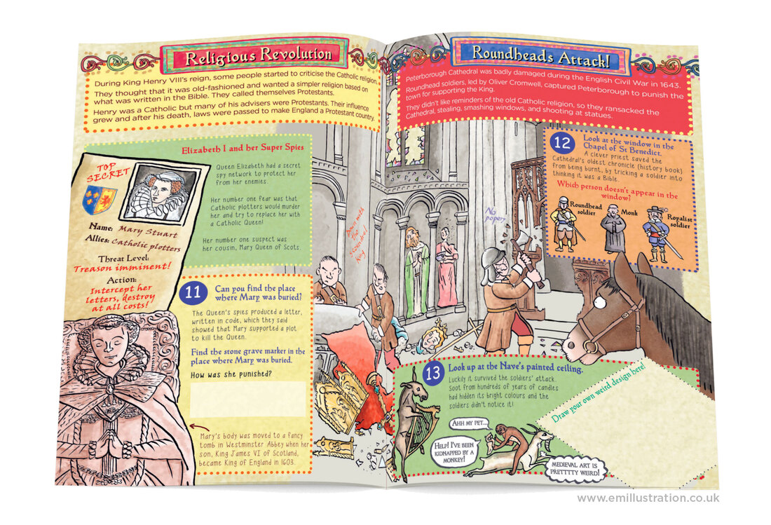 Illustrated activity trail book pages showing English Civil War soldiers vandalising cathedral by Emma Metcalfe