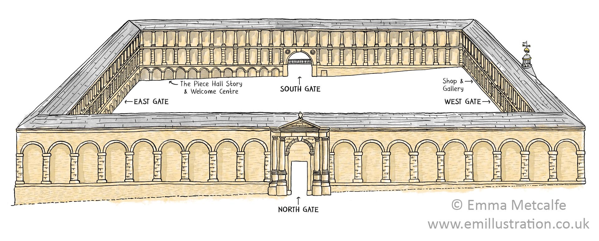 Illustration of Piece Hall historic building Halifax orientation map illustrated by Emma Metcalfe