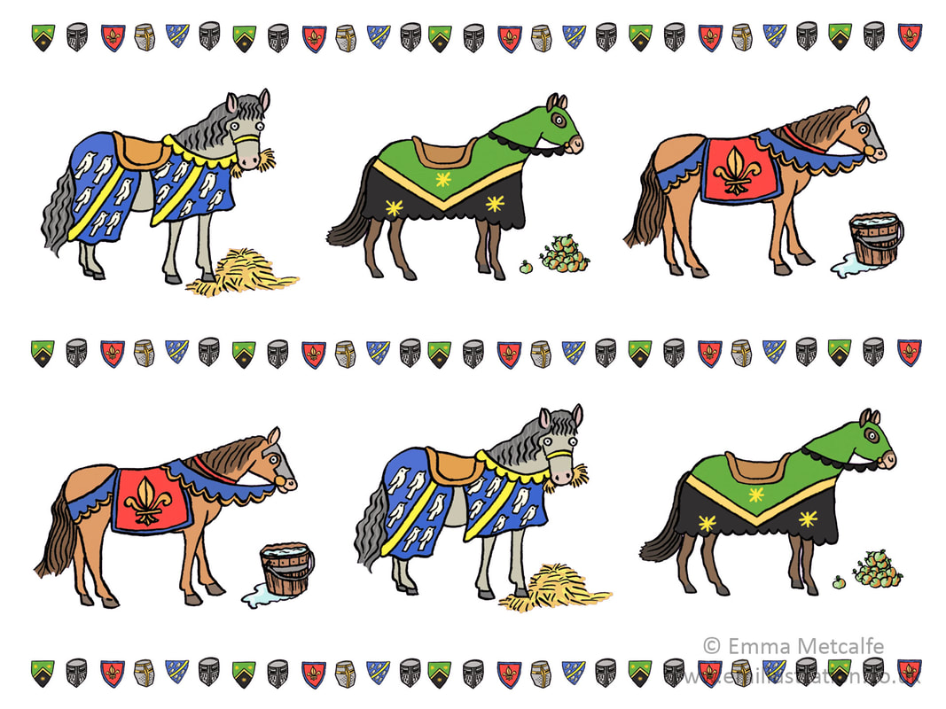 Medieval horses and shields pattern design for museum retail products illustration by Emma Metcalfe
