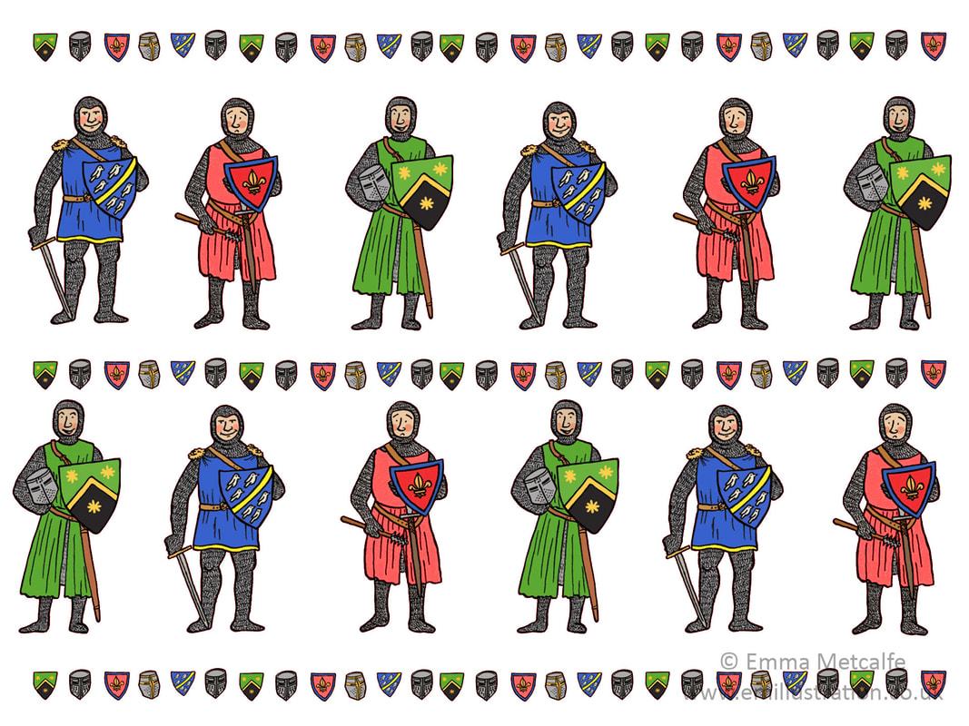 Medieval knights in chain main illustration design for museum retail products by Emma Metcalfe