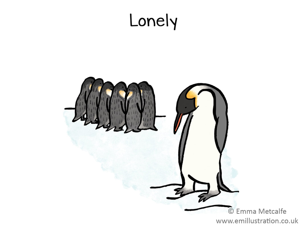lonely penguin - emotion of lonliness - children's therapy card resource for trauma, behaviour, talking about emotions