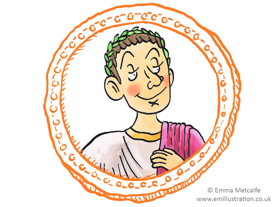 Cartoon illustration of Roman Emperor for children's educational worksheets by Emma Metcalfe