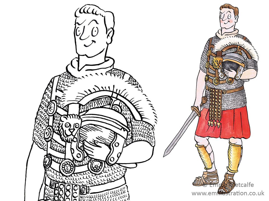 Cartoon Roman centurion with armour and helmet by historical illustrator Emma Metcalfe