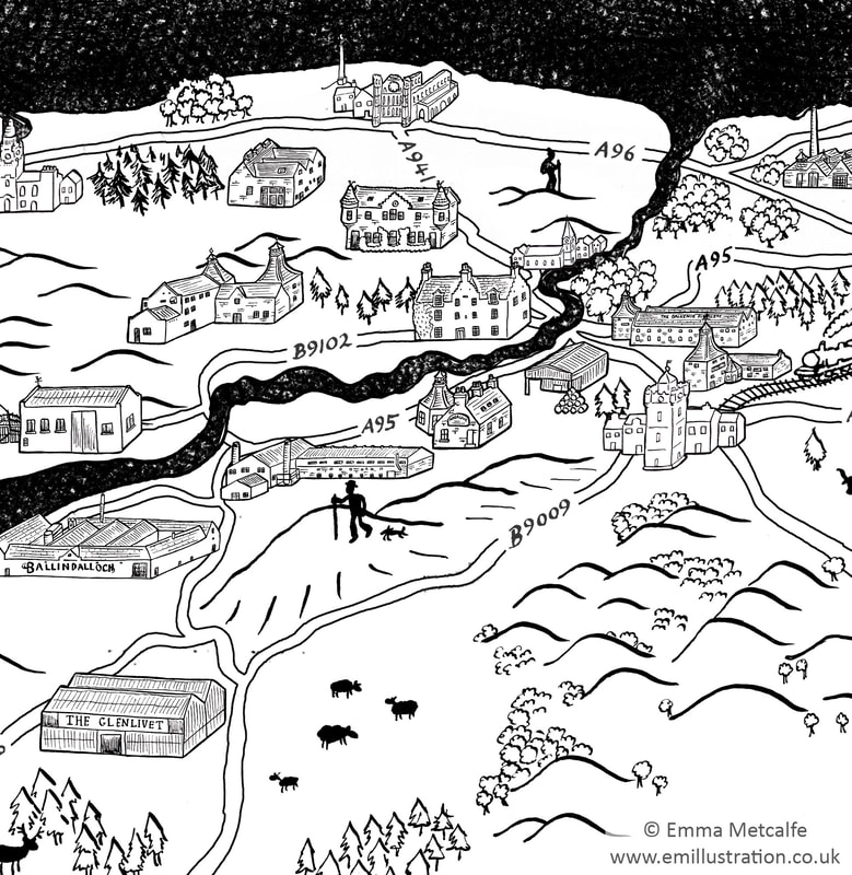 Simple hand drawn map drawing sketch showing historic buildings in Scotland by map illustrator Emma Metcalfe