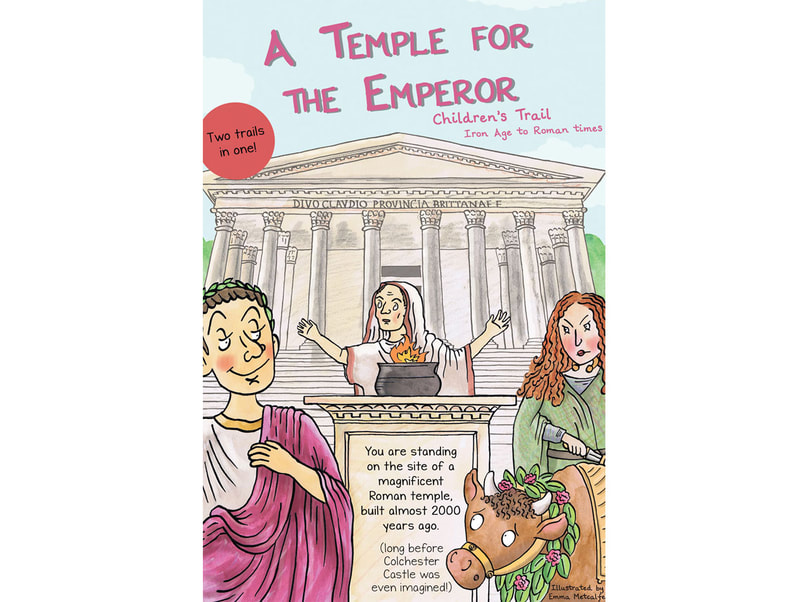 Front cover illustration from A Temple for the Emperor family trail leaflet by Emma Metcalfe