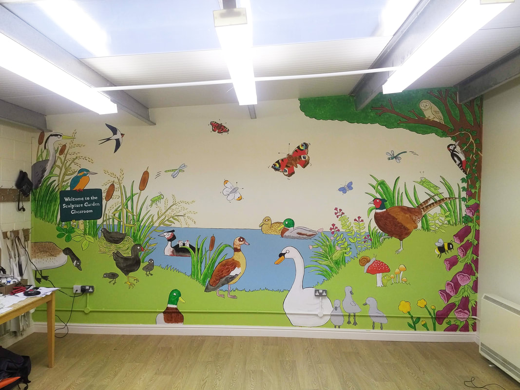 Photo of children's wildlife mural painted by Nottingham mural artist Emma Metcalfe