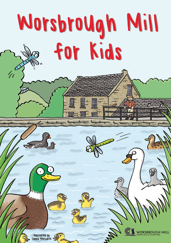 Front cover illustration from Worsbrough Mill for Kids children's activity leaflet by Emma Metcalfe